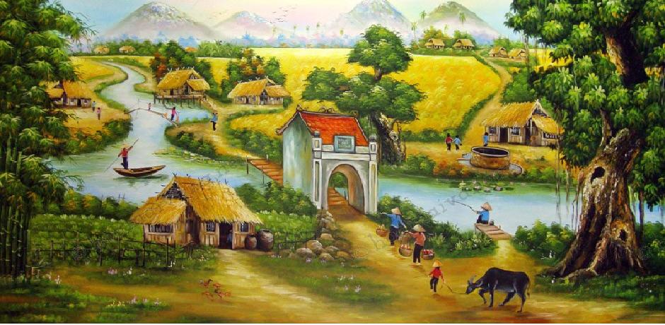 tranh dán tường làng quê con trâu, cổng làng