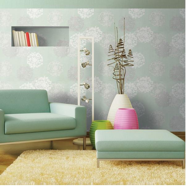 giấy dán tường  màu xanh lo họa tiết bông trắng