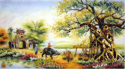 tranh dán tường làng quê quán nước