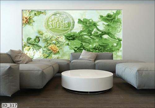 Giấy dán tường 3D cho phòng khách sang trọng