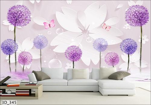 Giấy dán tường hoa văn màu tím MS: 3D_345