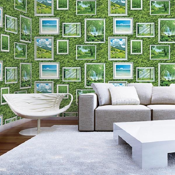 giấy dán tường màu xanh lá giúp căn phòng trở nên xanh tươi