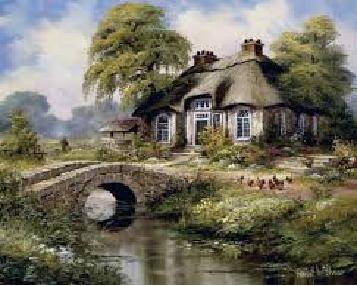 tranh dán tường làng quê cầu đá