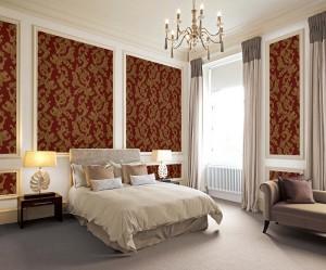 Giấy dán tường phòng ngủ tông màu đỏ