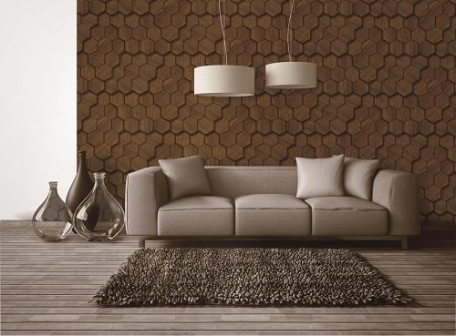 Giấy dán tường tông màu nâu cho phòng khách