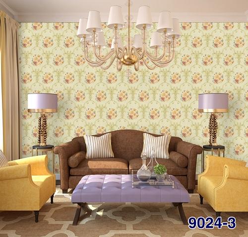 Giấy dán tường màu vàng sử dụng trong phòng khách