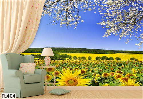 Giấy dán tường màu vàng tạo điểm nhấn cho căn phòng