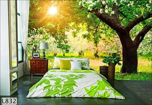 Phòng ngủ với bức tranh ánh bình minh tạo cảm giác tràn đầy năng lượng khi thức dậy