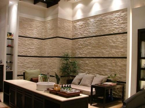 Sử dụng đá ốp tường cho phòng khách