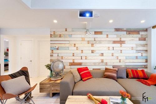 Loại giấy gạch dán phá cách không gian phòng khách.