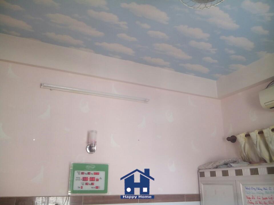Giấy dán trần nhà, Giấy dán tường happy home, thi công Giấy dán tường, Giấy dán tường giá rẻ