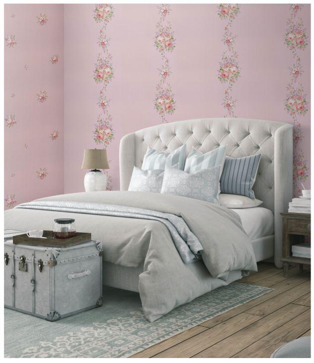 giấy dán tường phòng ngủ màu tím nhạt