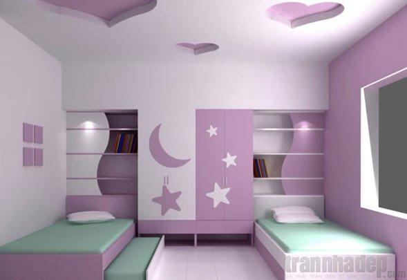 giấy dán tường phòng trẻ với màu tím họa tiết mặt trăng ngôi sao
