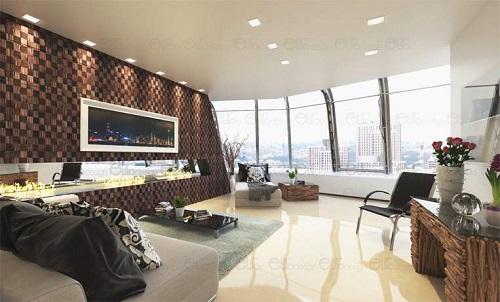 Phòng khách sử dụng tấm ốp tường gỗ 3D