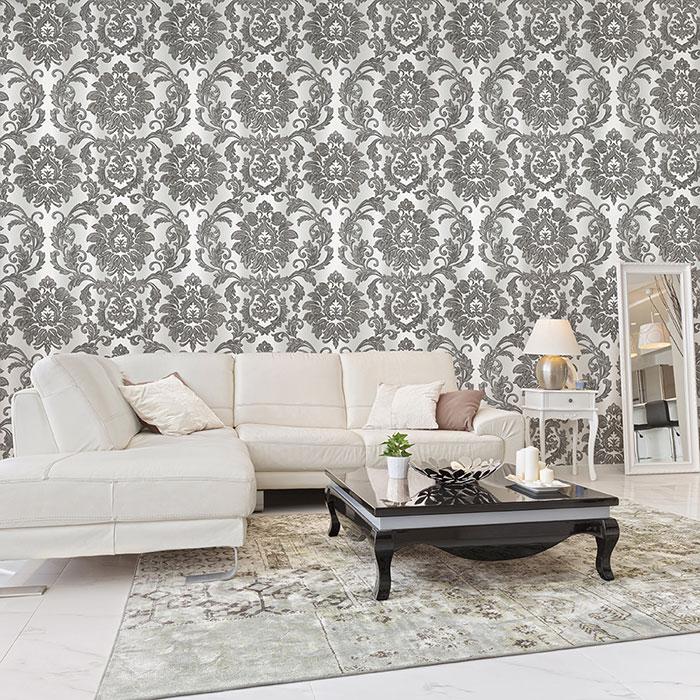 trang trí tường phòng khách bằng giấy dán tường 1