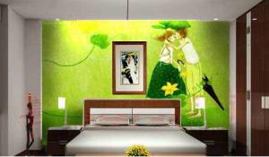 giấy dán tường màu xanh lá cây
