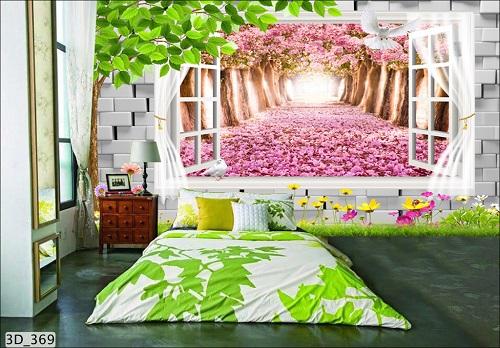 Giấy dán tường 3D phòng ngủ với hoa lá