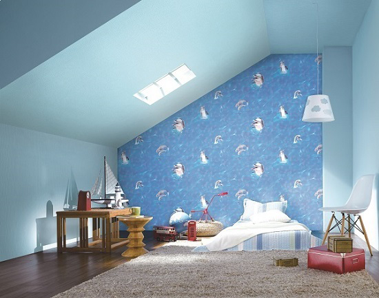 Giấy dán tường màu xanh dương thích hợp với người mệnh mộc