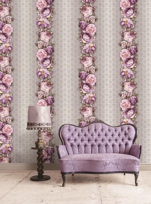Giấy dán tường màu tím hoa văn sang trọng