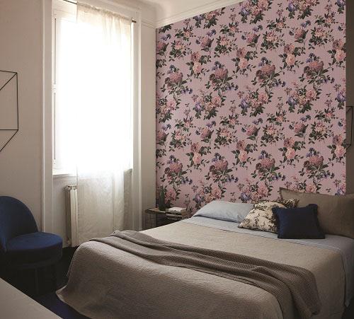 Giấy dán tường màu tím sử dụng cho phòng ngủ