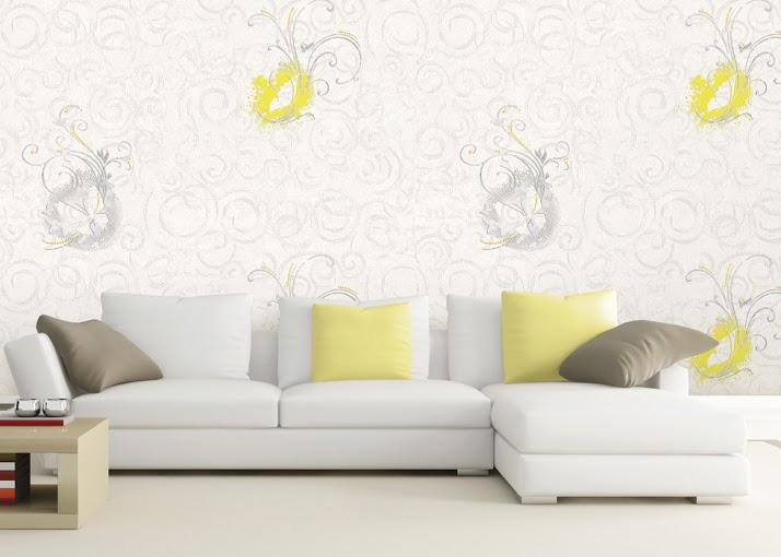 giấy dán tường nền trắng họa tiết màu vàng và xám