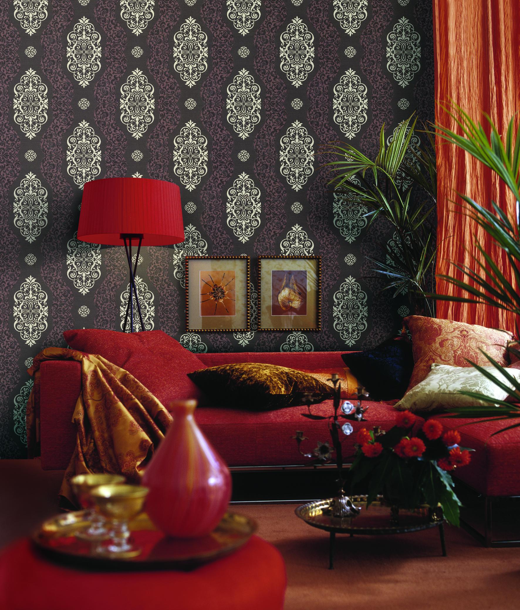 giấy dán tường red living room