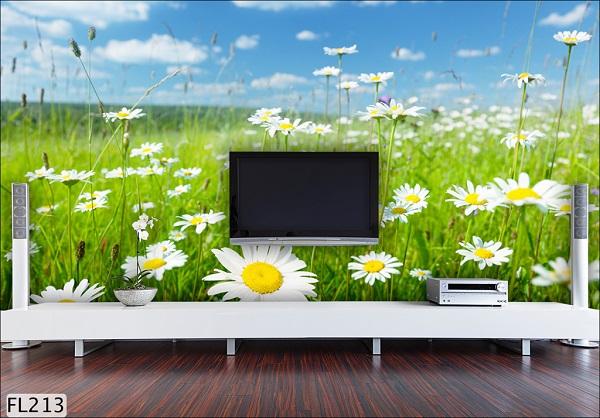Giấy dán tường màu xanh lá trang trí phòng khách