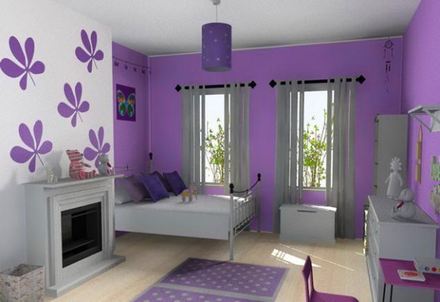 giấy dán tường phòng ngủ màu tím