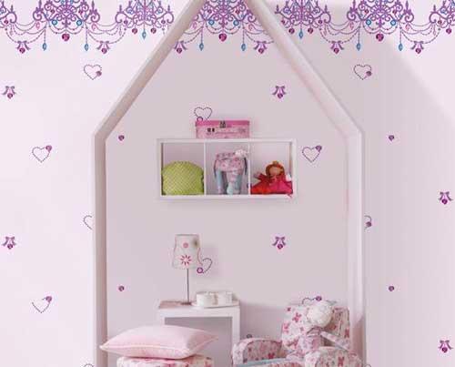 giấy dán tường có họa tiết màu tím