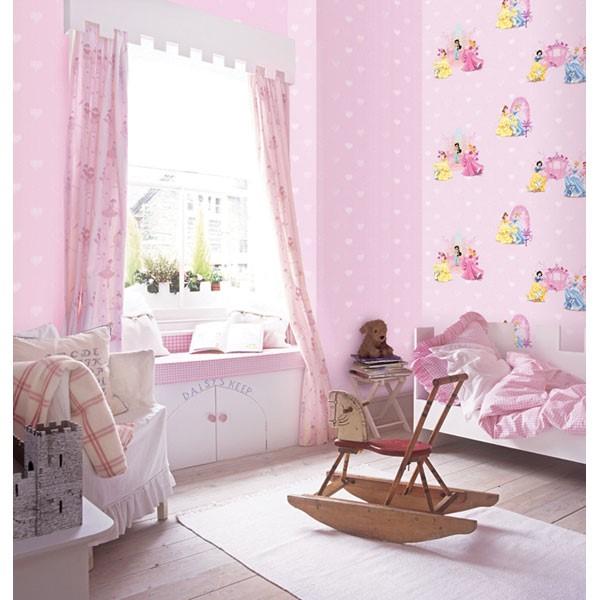 giấy dán tường phòng hoạt hình màu hồng