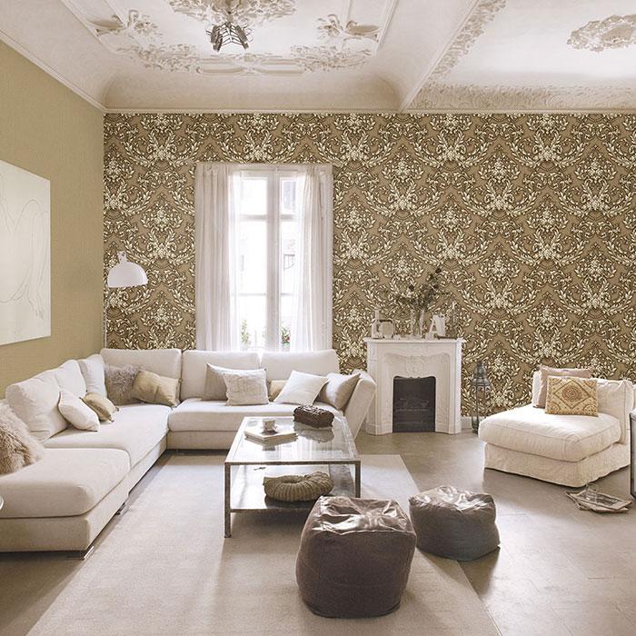 trang trí tường phòng khách bằng giấy dán tường