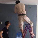 thi công giấy dán tường, thi công giấy dán tường cho chị Hương, thi công giấy dán tường tại chung cư, giấy dán tường, giấy dán tường happy home