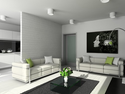 Phòng khách sử dụng vách ngăn thạch cao